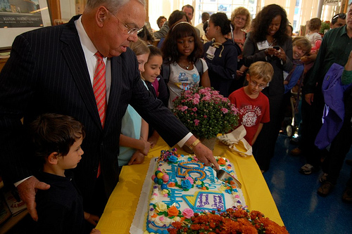 Mayor Menino at the 50th anniversary of the Roslindale Branch Library